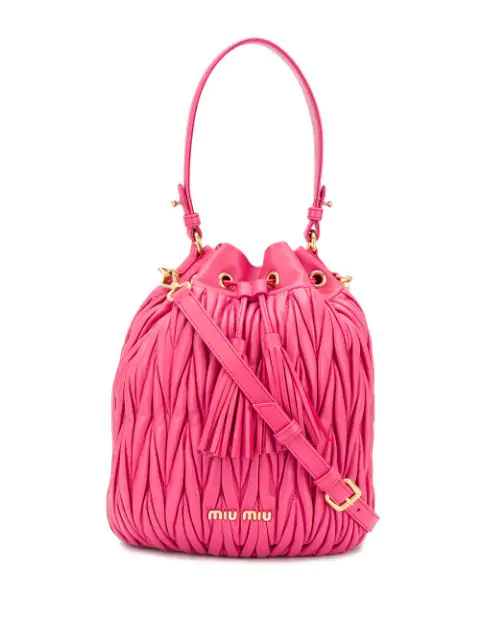 b64061f4e2f13 Miu Miu Matelassé Nappa Leather Bucket Bag - Pink   ModeSens