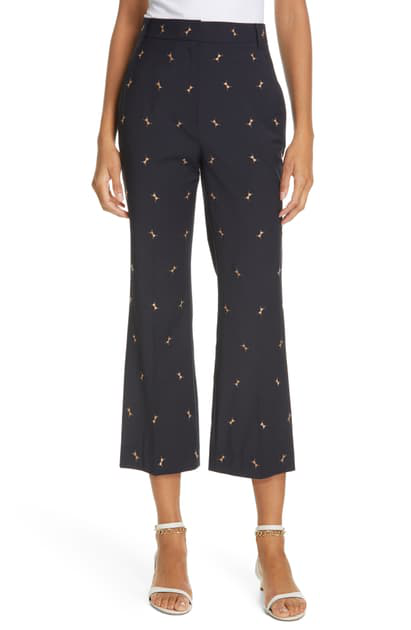 Tibi 'ant' Embroidered Cropped Boot Cut Pants In Dark Navy/ Caramel Multi