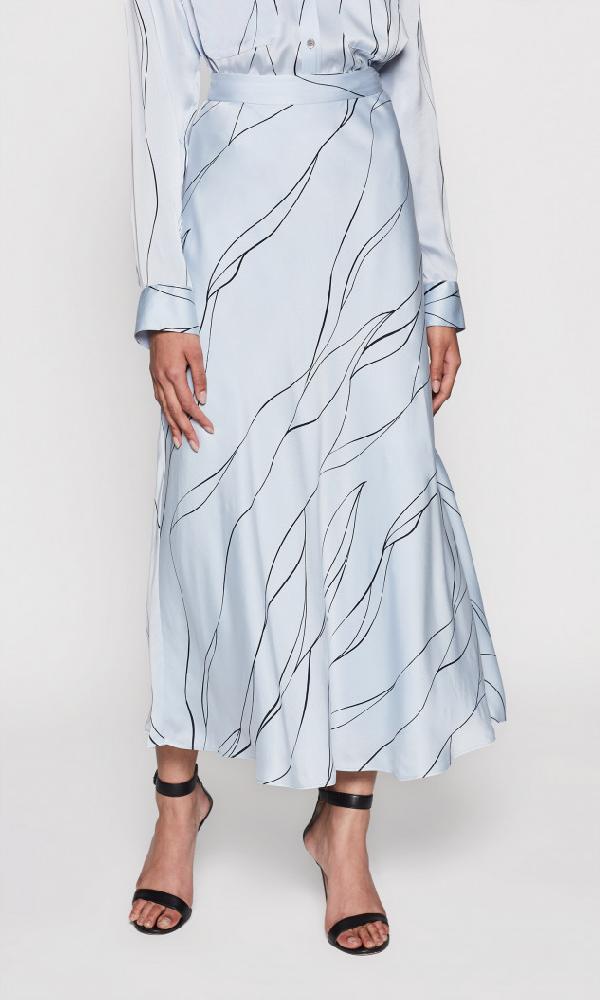 Equipment 'Iva' Abstract Line Print Satin Bias Skirt In Bleu Aere/Eclipse
