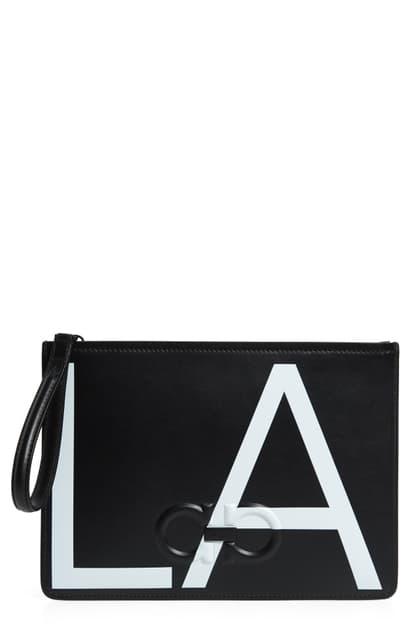 Salvatore Ferragamo Men's City La Leather Pouch Bag In Black/ White