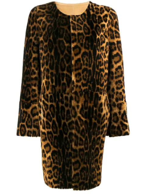 Yves Salomon Leopard Print Shearling Coat In Brown