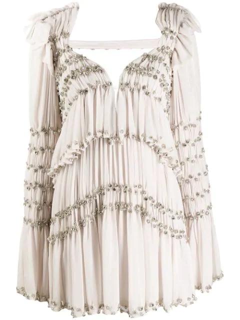 Raisavanessa Embroidered Pleated Mini Dress In Beige