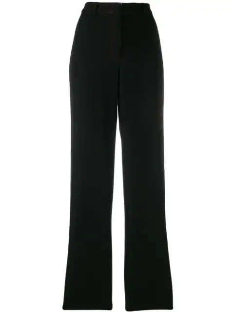 Versace Pre-Owned 1990's Contrast Stitch Trousers - Black