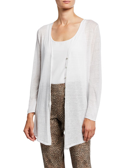 Nic + Zoe Plus Size Carefree Button-Front Cardigan In White