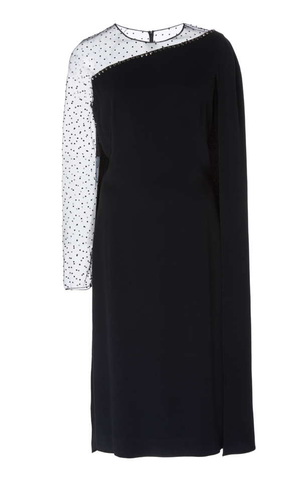 Jenny Packham Rey Cape-overlay Crepe And Tulle Dress In Black
