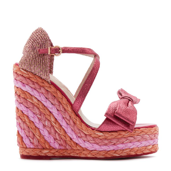 Sophia Webster Women's Bonnie 140 Platform Wedge Espadrille Sandals In Metal