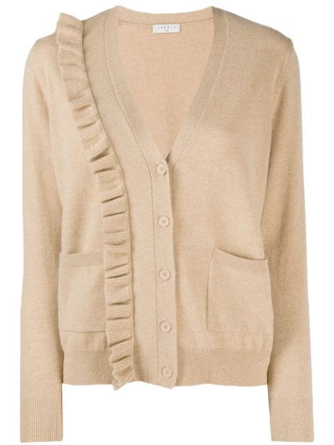 Sandro Cameen Ruffled Wool & Cashmere Cardigan - 100% Exclusive In Camel