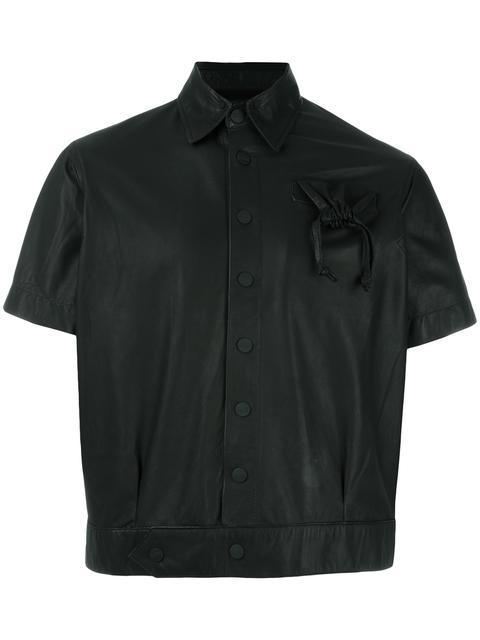 Ktz Drawstring Pocket Cropped Jacket - Black
