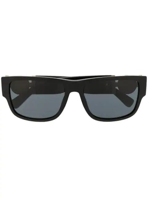 Versace Logo Square Sunglasses In Black