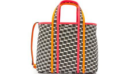 Pierre Hardy Mini Archi Bag In Canvas Cube-Calf Black-White-Fluo