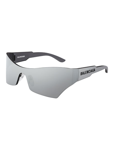 Balenciaga Men's Injection Rectangle Shield Sunglasses In Gray Pattern