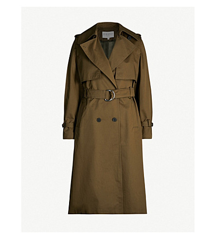 Claudie Pierlot Double-Breasted Twill Coat In Khaki
