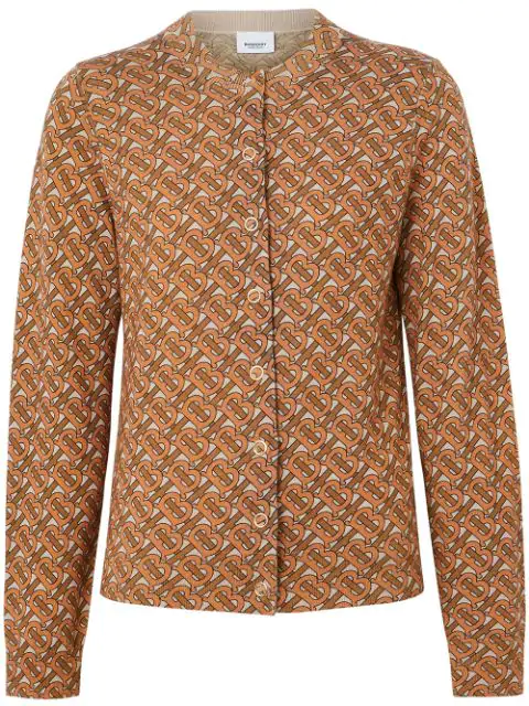 Burberry Chubut Monogram Pattern Merino Wool Blend Cardigan In Brown