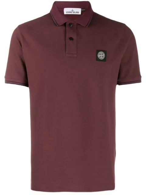 Stone Island Logo Polo Shirt In Red