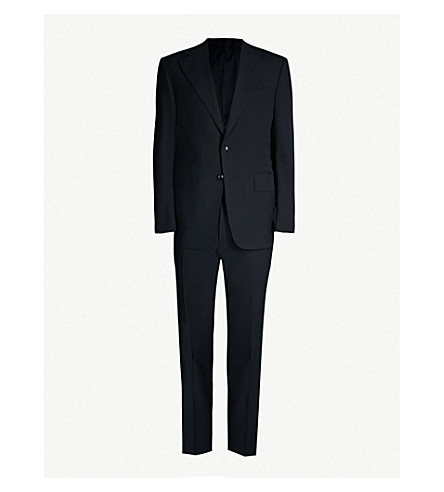 Tom Ford Shelton-Fit Wool-Hopsack Suit In Navy
