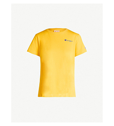 Champion Logo-Print Cotton-Jersey T-Shirt In Yellow