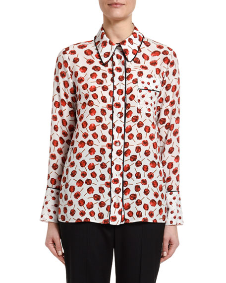 N°21 Printed Long-Sleeve Blouse With Embellished Collar In White/Red
