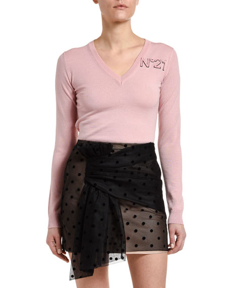 N°21 Long-Sleeve V-Neck Wool Logo Sweater In Light Pink