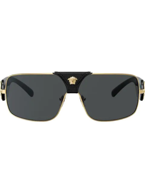 8edf880795e6 Versace Eyewear Rectangle Frame Sunglasses - Gold | ModeSens