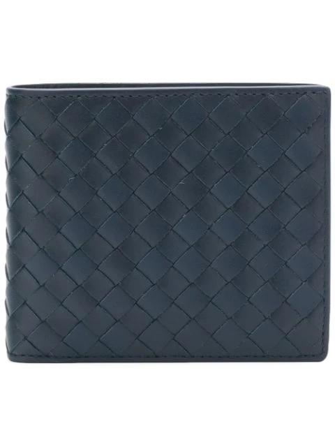 e9373db03a Leather Intrecciato Bifold Wallet in Blue
