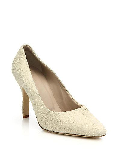 Helmut Lang Distressed Suede Pumps In Champagne