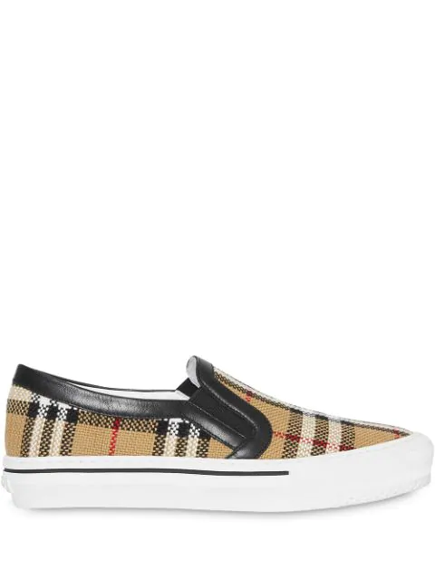 Burberry Women's Delaware Vintage Check Slip-On Sneakers In Neutrals