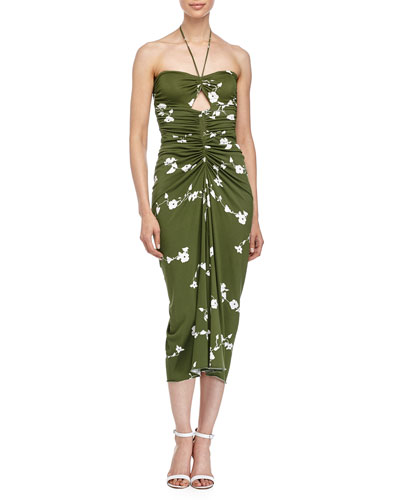 Michael Kors Floral-Print Bandeau Dress, Grass/Optic White In Grass/Op White