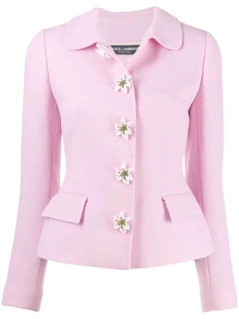 Dolce & Gabbana Single-breasted Crepe Jacket With Decorative Buttons In F0660 Light Pill Rose