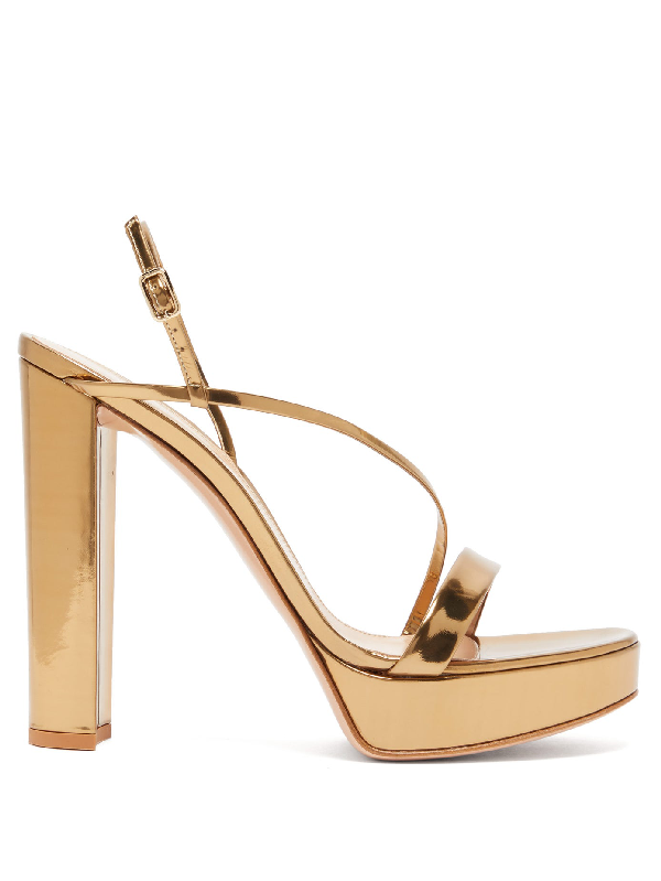 Gianvito Rossi Kimberly Platform Metallic Leather Slingback Sandals In Gold