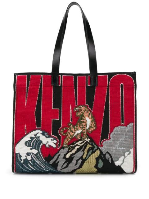 Kenzo Logo Techno Jacquard & Leather Tote In Multicolore