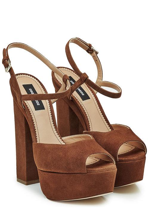 Dsquared2 Suede Platform Sandals In Brown