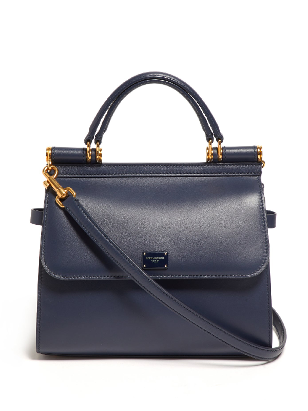 Dolce & Gabbana Sicily 58 Small Leather Top Handle Bag In Bosco