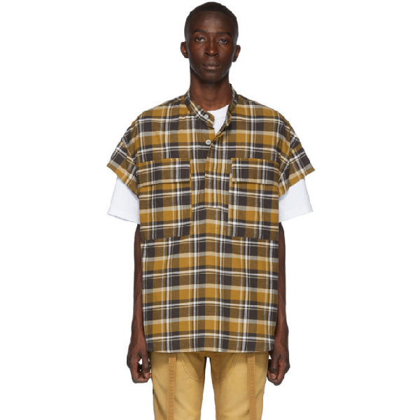 Fear Of God Oversized Checked Cotton-Flannel Half-Placket Shirt In 215Brncrmpd
