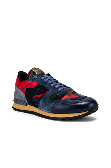 Valentino Low Top Rock Runner Leather Sneakers In Navy,Red