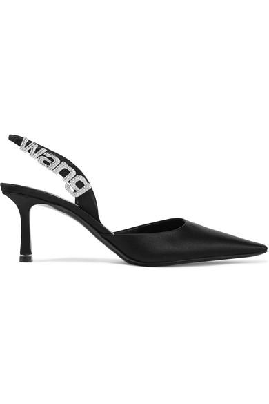 Alexander Wang 70Mm Grace Embellished Logo Satin Pumps In Black