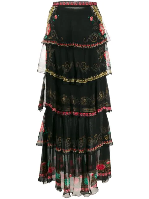 Etro Printed Silk Chiffon & Ruffled Skirt In 1 Black