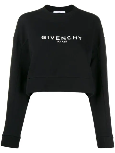 Givenchy Destroyed Logo Cotton Jersey Sweatshirt In 001 Black