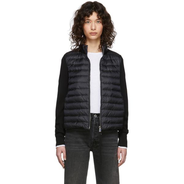 Moncler Wool Knit Cardigan & Nylon Down Jacket In 999 Black