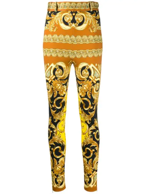 Versace Skinny Printed Stretch Jersey Pants In Yellow