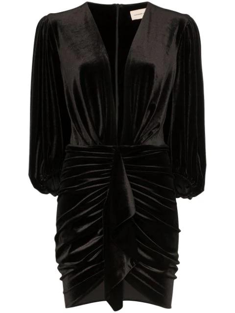 Alexandre Vauthier V Neck Draped Stretch Velvet Mini Dress In Black