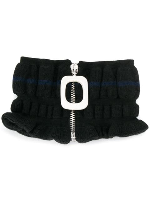 Jw Anderson Ruched Wool Zip Neckband In Black