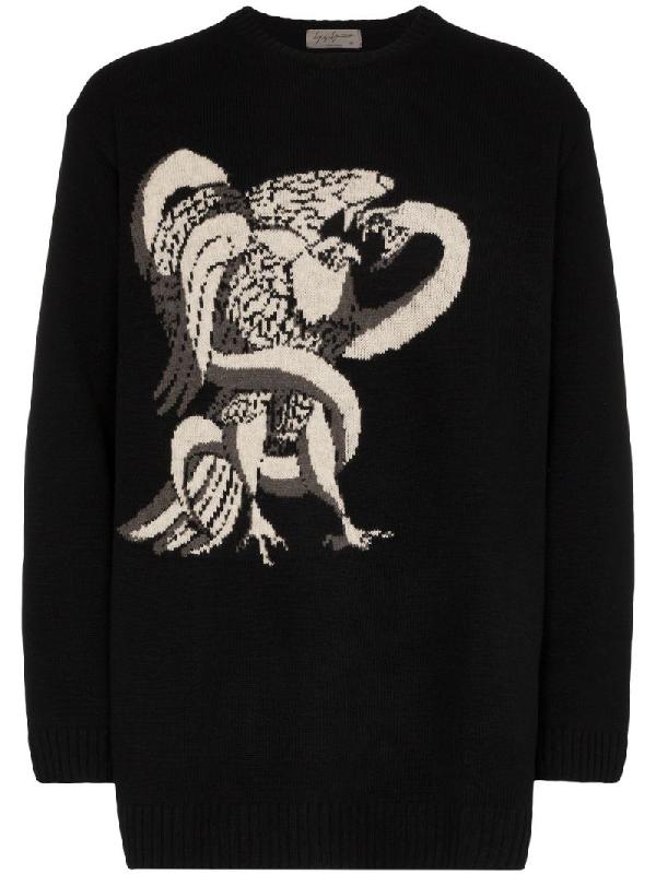 Yohji Yamamoto Eagle Snake Intarsia Wool Knit Sweater In Black