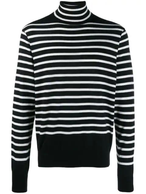 Takahiromiyashita The Soloist Striped Wool Knit Sweater In Black