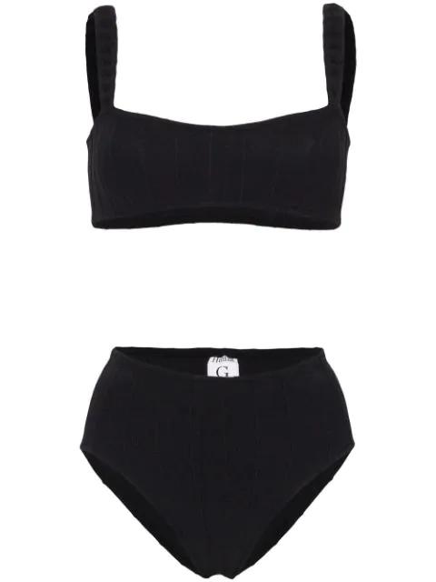Hunza G Thema Nile Crop Top Bikini In Black