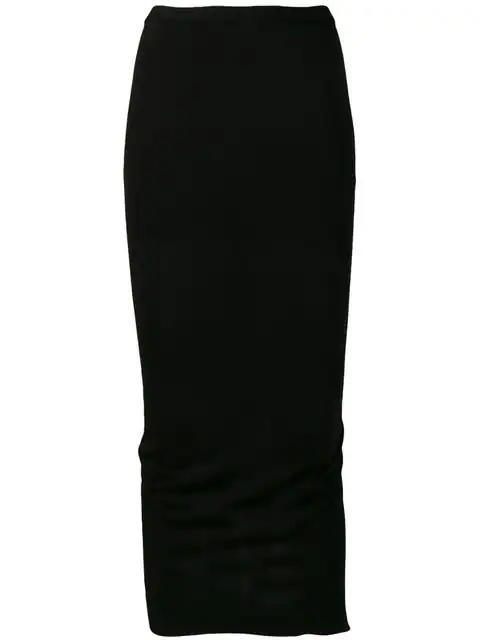 Rick Owens Pillar Ruched Cotton-Blend Jersey Midi Skirt In Black