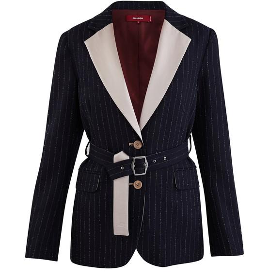 Sies Marjan Terry Belted Satin-trimmed Pinstriped Wool-blend Twill Blazer In Midnight Blue
