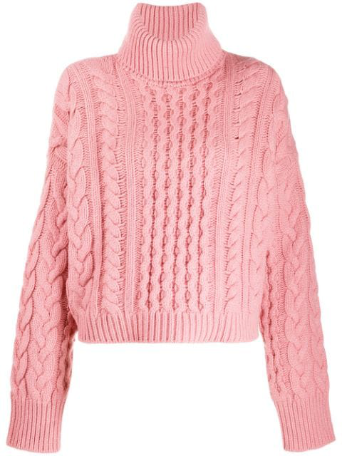 Alanui Cable-knit Jumper In Pink