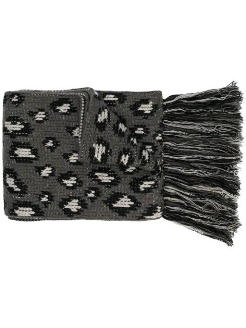 Alanui Leopard Intarsia Scarf In Black