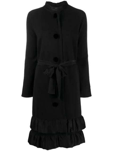 Lanvin 2006 Ruffled Midi Coat In Black