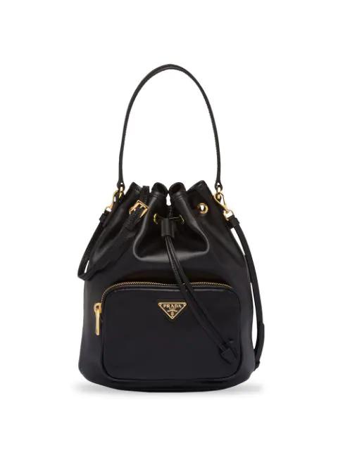 Prada Leather Bucket Bag In Black